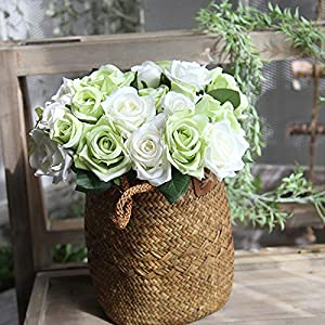 Decdeal Artificial Flowers Silk Flowers Artificial Rose Bouquet for Home Bridal Wedding Party Festival Bar Decor 116