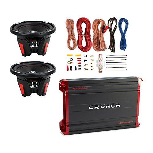 Crunch 1800W Amplifier + 12-inch 2300W Subwoofer (2 Pack) + 8-Gauge Wiring Kit