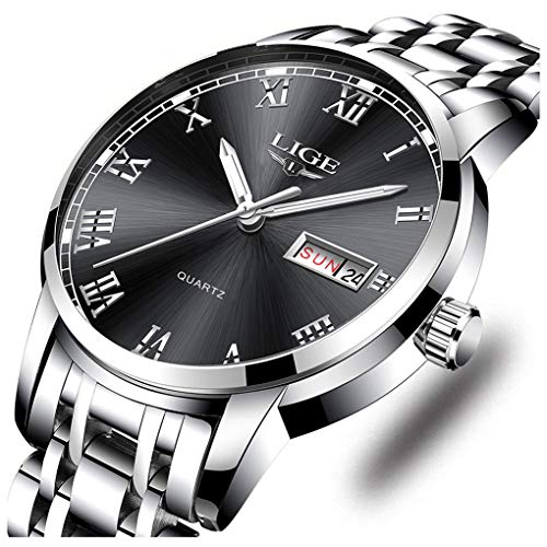 LIGE Watches Mens Fashion Waterproof Stainless Steel Analogue Quartz Watch Gents Luxury Business Dress Wrist Watch for Men