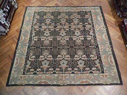 Black Wool 10x10 Oushak Charcoal William Morris Design Antique Turkey Rug