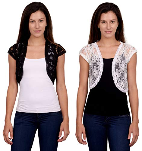 CETC Women's Lace Open Front Cardigan Shrug (Pack of 2)