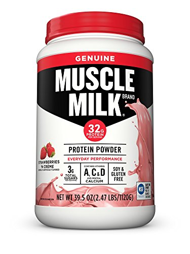 (Muscle Milk Genuine Protein Powder, Strawberries 'N Crème, 32g Protein, 2.47 Pound)