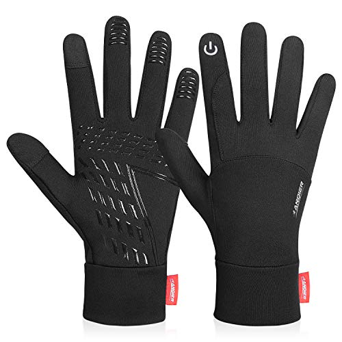 Anqier Running Gloves,Lightweight Touchscreen Cycling Windproof Gloves Women Men Climbing Driving Sports Compression Liner Gloves for Winter Early Spring Or Fall (Black,Medium)