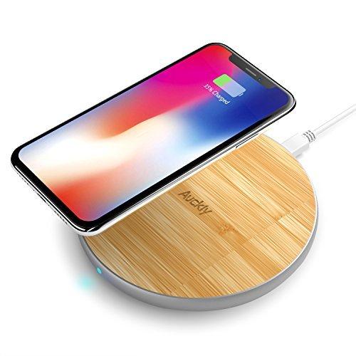 Chargeur sans fil rapide, Auckly 10W Qi Pad Bambou chargeur sans fil avec Aluminium Mat pour iPhone X/8/ 8 Plus, Galaxy S9 / S9+ / S8/ S8+/ S7 / S7 edge / S6 edge+, Nexus 4/5/6 et autres Compatibles Qi - Argent