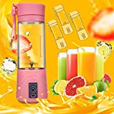 Aolvo USB Juicer Cup, Electric Self Blending Juicer Bottle Rechargeable Fruit Juice Mixer With USB Charging Cable Portable for Home and Travel (380ml)