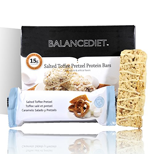 Salted Toffee (BalanceDiet™   Protein Bar   15g of Protein   Low Carb   7 Bar Box (Salted Toffee Pretzel))