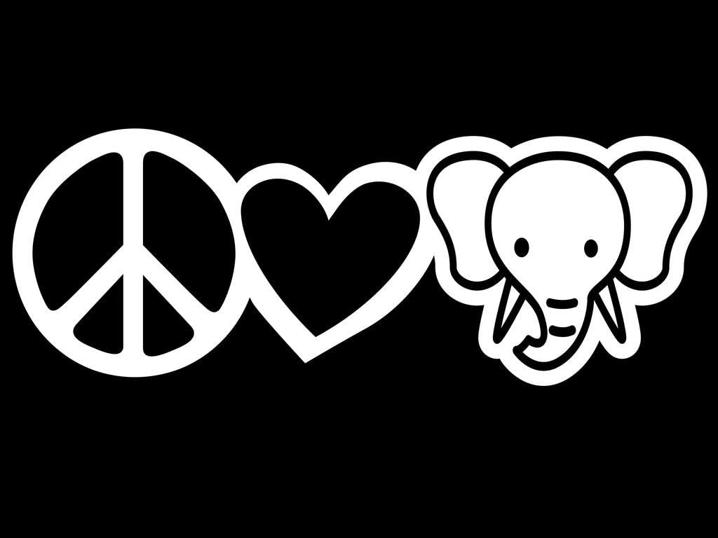Peace Love Elephants Vinyl Decal Sticker | Cars Trucks Vans Walls Laptops Cups | White | 7.5 X 2.7 Inch | KCD1630W
