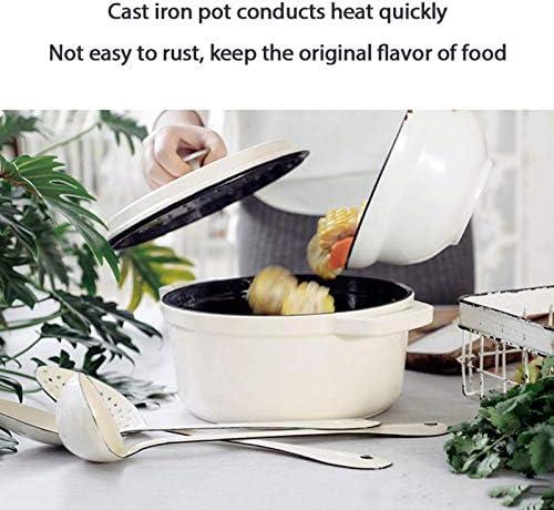 Four hollandais émaillé 24 cm avec Couvercle Pot en émail antiadhésif avec Gants en Silicone Four hollandais Professionnel recouvert de Fonte - Meilleur Cadeau Blanc