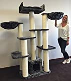 Cat Tree for Large Cats – Cat Empire Dark Grey – 72 inch 143 lbs 6 inch Ø poles – Total size 72x47x24 inch – Cat Scratcher scratching post activity center Cat Trees for large cats. Quality product fro