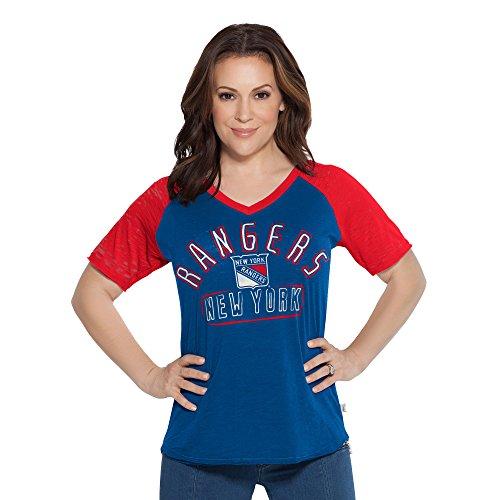(NHL New York Rangers Women's Touch Ace V-Neck Short Sleeve Tee, Large, Royal)