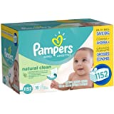 Pampers Natural Clean Wipes 16x Pack 1152 Count