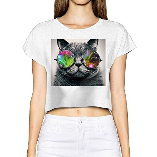Richard Women's Cat Wearing Aviator Sunglasses Party White Short Sleeve Crop Top Shirt - Sunglasses Kyle Richards