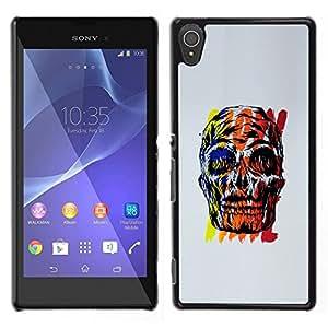 "For Sony Xperia T3 Case , Cráneo Wow Time Gris Negro Rojo Amarillo"" - Diseño Patrón Teléfono Caso Cubierta Case Bumper Duro Protección Case Cover Funda"