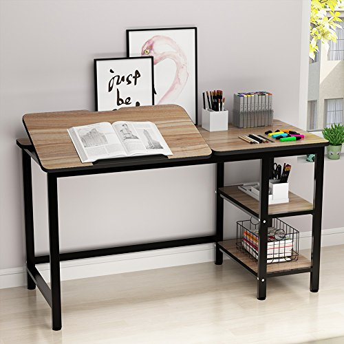 Drafting Table, LITTLE TREE Multi-Function Drawing Table with Adjustable Tiltable Stand Table Board, Can Also be Computer Desk, Writing Desk or Workstation for Office and Home Use. (Oak) ()