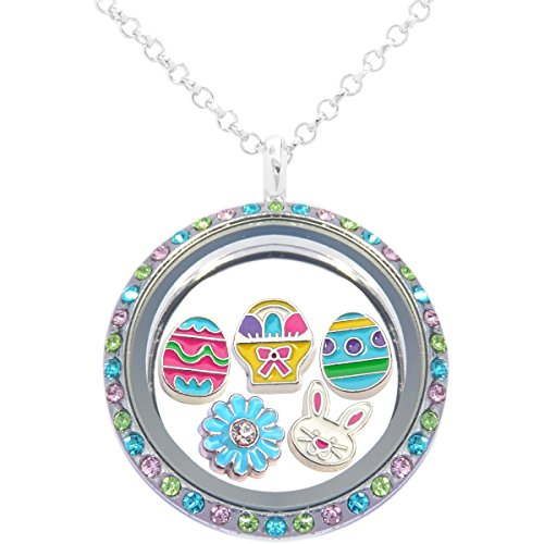 Easter Floating Locket Set Including Necklace and 5 Locket Charms (Easter Jewelry)