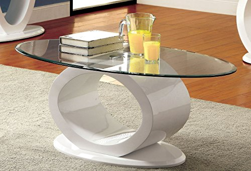 Furniture of America Modine Contemporary Glass Top Coffee Table, White (White Glass Top Coffee Table)