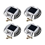 Solar Dock Light 4-pack JACKYLED Dock Path Road Long Service Time LED Light Bright white Weatherproof Wireless Outdoor Warning Step Lights for Driveway Garden Walkway Backyard Step