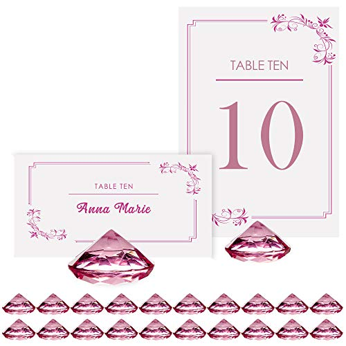 Pink Diamond Table Number Holder & Place Card Holders [20 Pack] Sturdy, Crystal Acrylic Table Card Stands for Party & Wedding Table Decorations