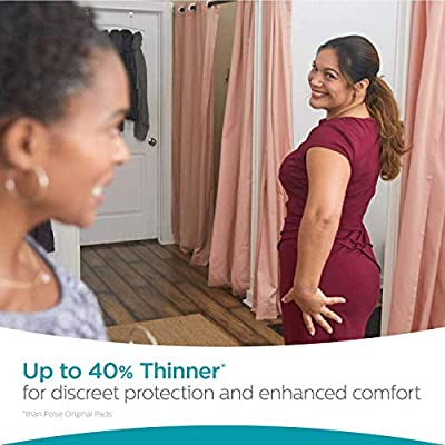 Poise Ultra Thin Incontinence Pads, Light Absorbency, Regular, Unscented, 120 Count (4 Packs of 30)
