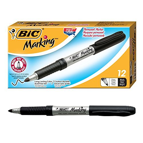 BIC Marking Permanent Marker, Fine Point, Black, 12-Count