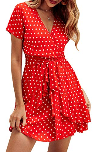 ECOWISH Women's V Neck Polka Dot Ruffles Mini Sexy Dress Short Sleeve Wrap Summer Dresses with Belt Red Small