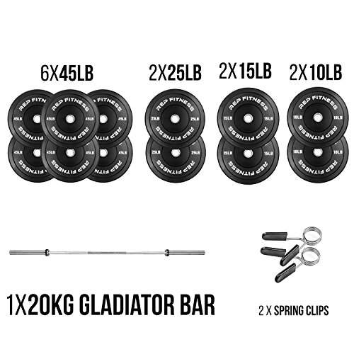 Rep Bar and Black Bumper Plate Package, 370 lb Set with 20kg Gladiator and Spring Clips