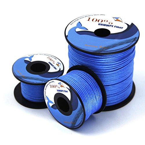 EMMAKITES 750lb 100feet Kite Line String Blue UHMWPE High Module Polyethylene for Kite Flying Fishing General Outdoor PurposeC High Strength Resistant to Moisture, UV, Abrasion