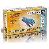 Reflexx R76/M Guanti in Nitrile senza Polvere 3.5 gr, Taglia M, 100 Pezzi, Azzurro