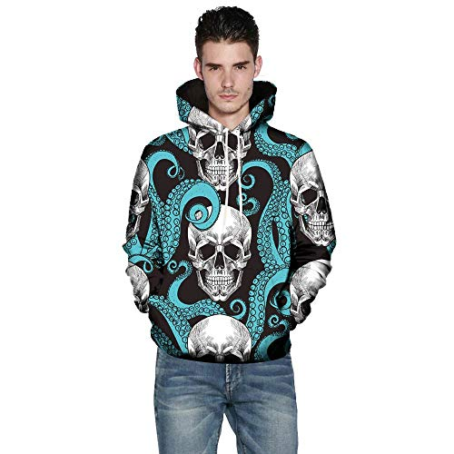 Gobling Mens 3D Printed Skull Pullover Long Sleeve Hooded Sweatshirt Tops Blouse Happy Halloween Series (Color : Black, Size : 4XL) ()