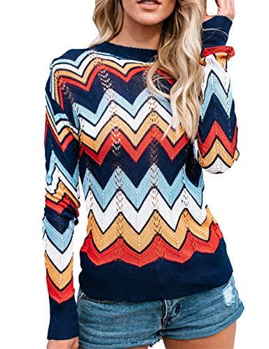 Women's O Neck Long Sleeve Striped Knitwear Lightweight Winter Knitted Rainbow Pullover Sweater(ZQ-M)