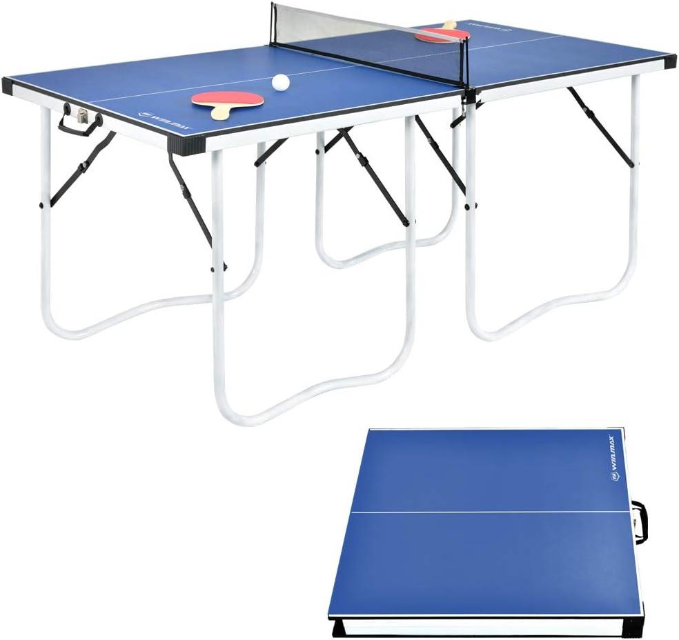 WIN.MAX Mesa de Ping-Pong Mediana, Mesa de Ping-Pong Plegable con Red HBT: 152 x 73 x 67 cm, Placa TT para Interiores y Exteriores, Azul