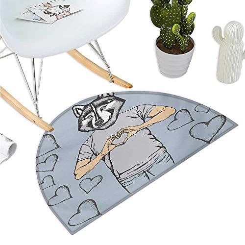 Modern Semicircular Cushion Husky Dog Faced Man at Valentines with Hearts Romantic Love Display Bathroom Mat H 27.5