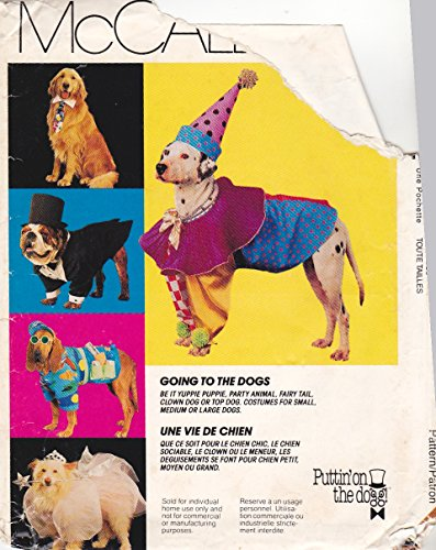 OOP McCall's Pattern 7286. S;M;L Dog Clothes/costumes. Yuppie Puppy; Party Animal; Fairy Tall; Top Dog; Clown (Clown Costume Patterns)
