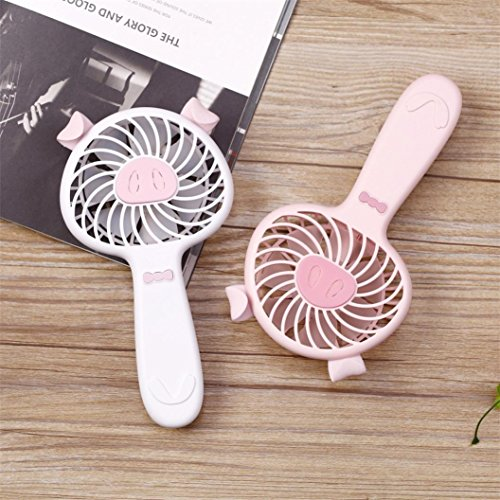 Price comparison product image Makaor Cute Cartoon USB Fan, Mini Portable Pocket Fan, Hand Held Baby Fan, Battery Travel Holiday Blower Cooler For Outdoor (A,  Size: 18.2cmx 9.7cxm 5cm)