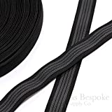 "25 Yards of 1"" Elastic with Gripping Rubber, Black with Gray"