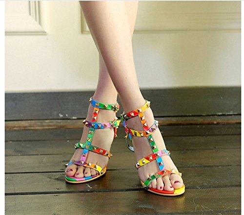 Meijia Women's Ladies New Fashion Roman Rivet Sexy Stiletto High Heel Open Toe Sandals Shoes Size 3 4 5 6 7 8 9 10 Colour WMIPbT