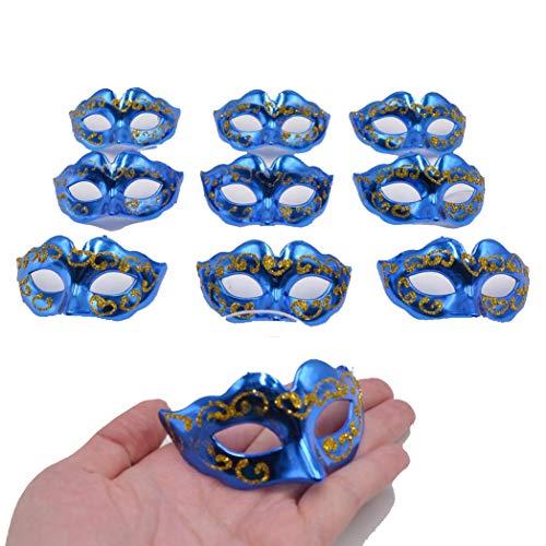 Yiseng Masquerade Masks Party Decoration 10pcs Set Supper Mini Mardi Gras Masks Novelty Gifts(Blue Color)]()