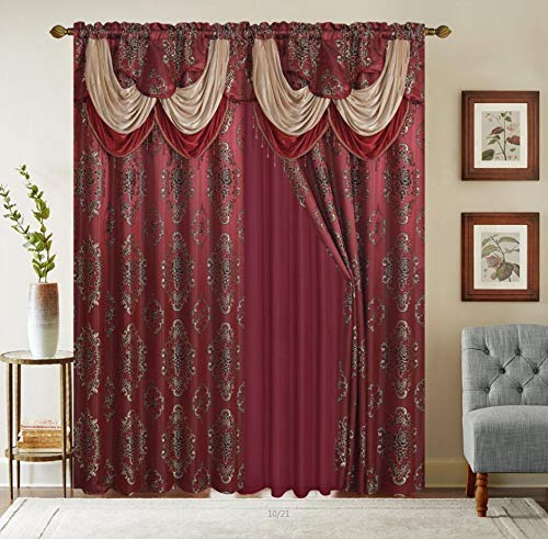 Rod Pocket Jacquard Window 84 Inch Length Curtain Drape Panels w/ attached Valance + Sheer Backing + 2 Tassels - 84