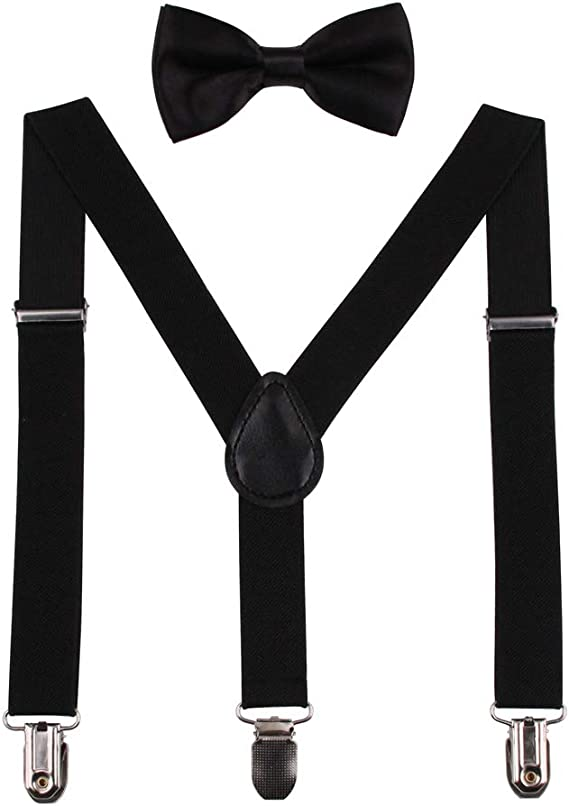 Black White Kids Suspenders