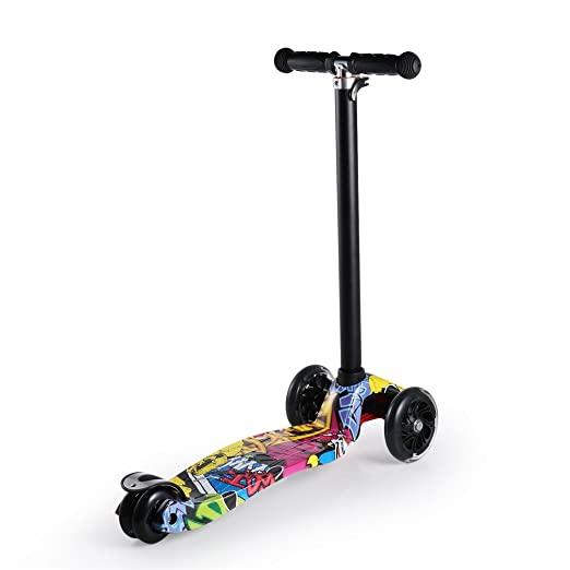 Patinete Cimiva Patinete scooter plegable con 3 ruedas 90cm altura ajustable para niños de 3-13 años de edad, rojo