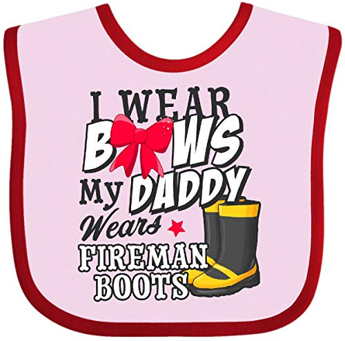 ows My Daddy Wears Fireman Boots Baby Bib Pink and Red 2f955 ()