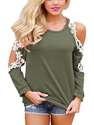 Women Sexy Crochet Lace Cold Shoulder Long Sleeve Tops