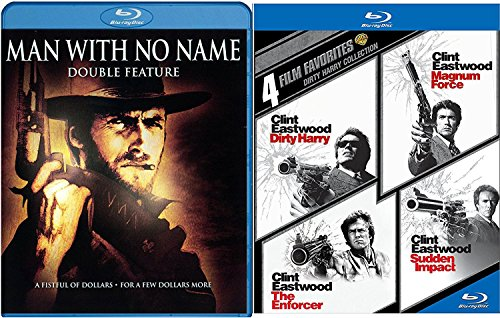 Dirty Harry Collection Clint Eastwood Blu Ray + Man with No Name - The Enforcer / Magnum Force / Sudden Impact Western Action Pack 6 Movie Set Fistful of Dollars