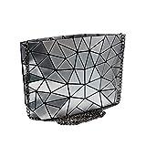 Orfila Holographic Envelope Clutch Bag Purse Geometric Laser Leather Chain Shoulder Handbag Casual Crossbody Messenger Bag Silver