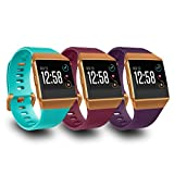 AIUNIT Compatible Fit bit Ionic Bands for Men Women Teens Kids Large with Burnt Orange Buckle, Replacement Strap Sport Accessory Wristband for Fit bit Ionic Smart Watch Teal Fuchsia Plum