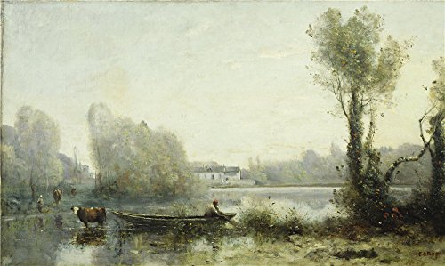 Oil Painting 'Jean-Baptiste-Camille Corot - Ville-d Avray,19th Century', 18 x 30 inch / 46 x 77 cm, on