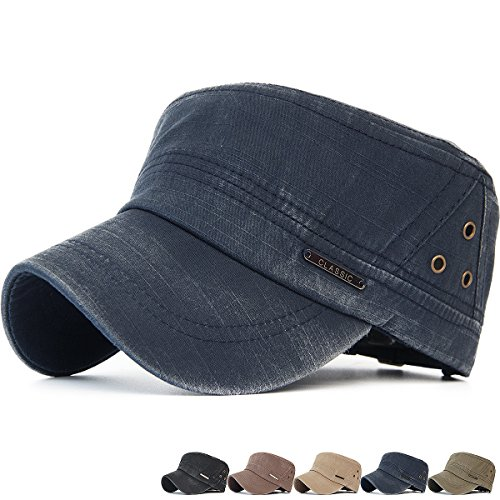 REDSHARKS Washed Cotton Cadet Cap Military Army Hat Various Style Denim Classic Logo Navy