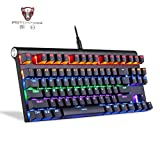 Cywulin Adjustable Colorful RGB Backlit Dual Mode Bluetooth Wireless USB Wired Mechanical Keyboard for PC, Mac, Computer, Laptop
