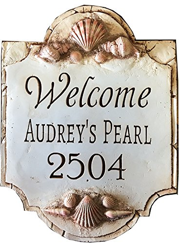 (Piazza Pisano Beach House Sign with Shells Personalized)
