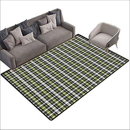 Bath Rug Plaid Classical and Geometric in Green and Black Tones Graphic Tile Pattern Breathability W5' x L7'10 Olive Green Black Grey